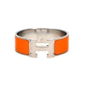Hermès Orange Enamel Clic Clac H Wide Bracelet